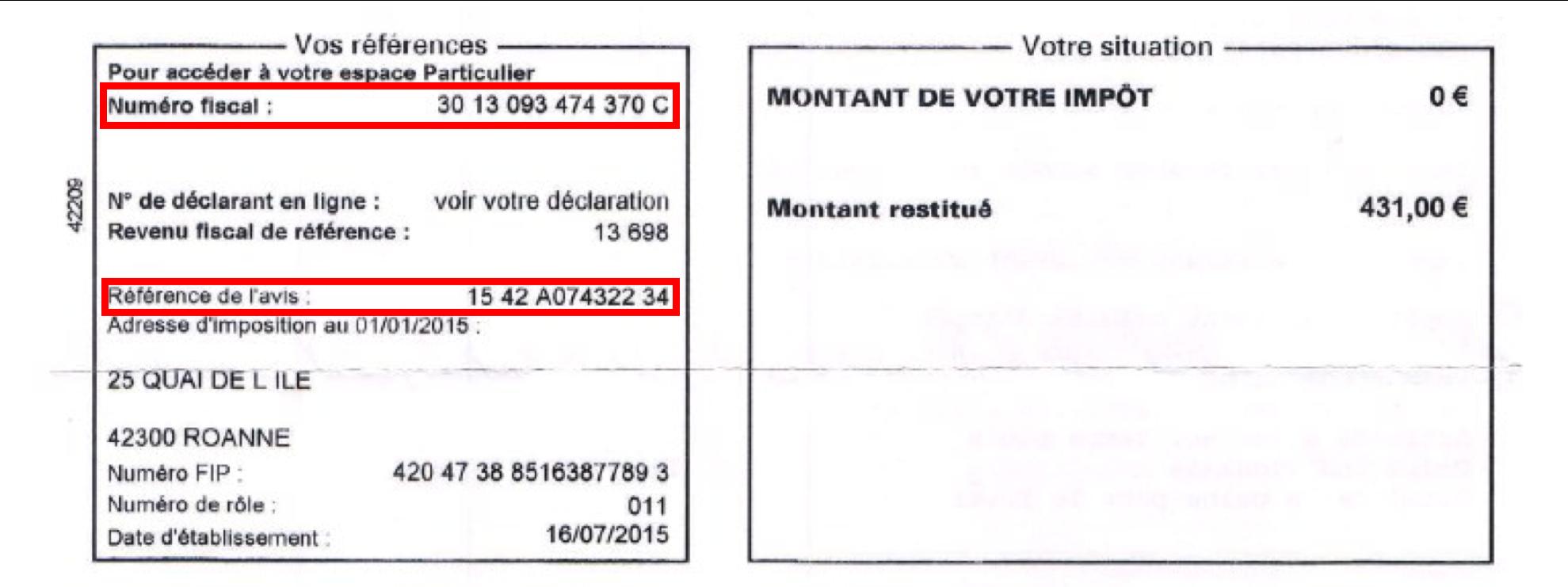 Numéro fiscal et référence du document sur l'avis d'imposition