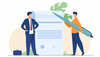 Business partners signing document. Tiny characters with pen, paper with signature and seal flat vector illustration. Paperwork, cooperation concept for banner, website design or landing web page