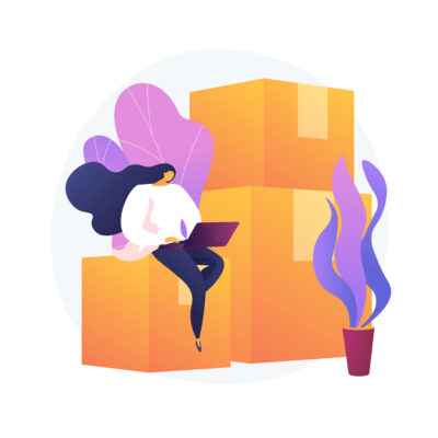 Relocation services. Apartment rent, accommodation leasing, real estate agency website design element. Woman with laptop sitting on cardboard boxes. Vector isolated concept metaphor illustration