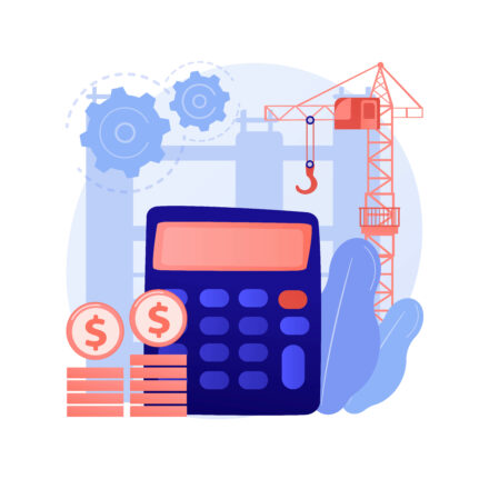 Construction costs abstract concept vector illustration. Project management, bank loan, real estate business, design project, building investment, contractor service, renovation abstract metaphor.