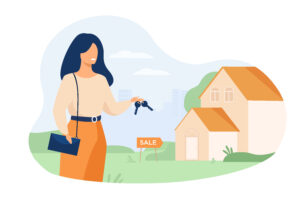 Realty agent holding keys and standing near building isolated flat vector illustration. Cartoon woman and house for sale. Real estate and mortgage concept