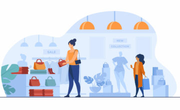 Female customers shopping in clothes shop. Women choosing garments, fashion accessories at sale in boutique. Vector illustration for retail store, marketing, purchase, consumers concept