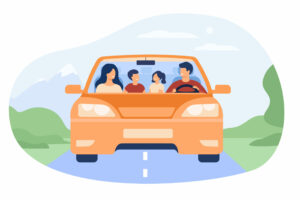 Happy family travelling in automobile isolated flat vector illustration. Front view of cartoon father, mother, son and daughter in car. Vacation and weekend concept