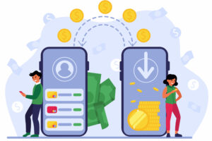 People using mobile bank for remittance of money. Man and woman with smartphones sending coins to each other. Vector illustration for cashless transactions, financial app, payment transfer concept