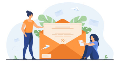 Woman receiving mail and reading letter. Person getting contract with signature out of envelope. Flat vector illustration for email, message, communication concept